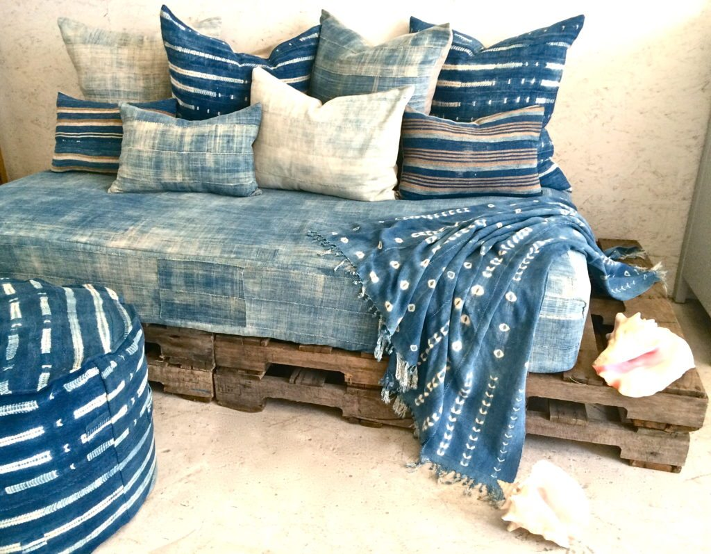 vintage indigo pillow